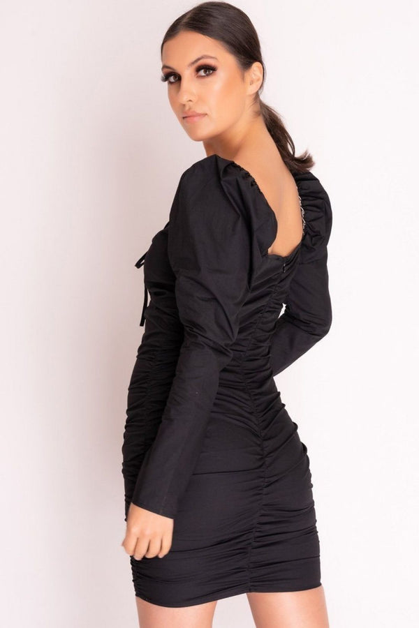 HIGH STREET Black Ruched Lace Up Bodycon Dress side.