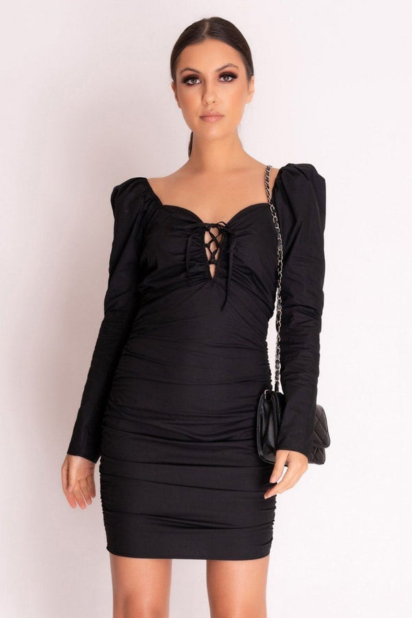 HIGH STREET Black Ruched Lace Up Bodycon Dress front.