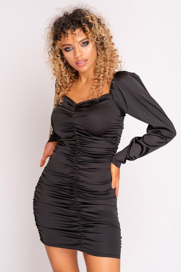 HIGH STREET Black Satin Extreme Ruched Mini Dress front.
