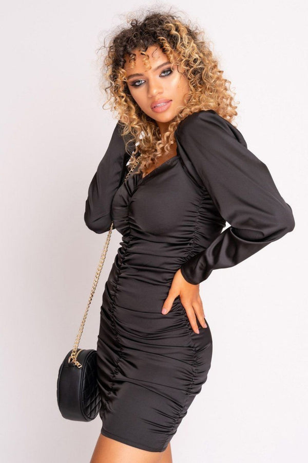 HIGH STREET Black Satin Extreme Ruched Mini Dress side.