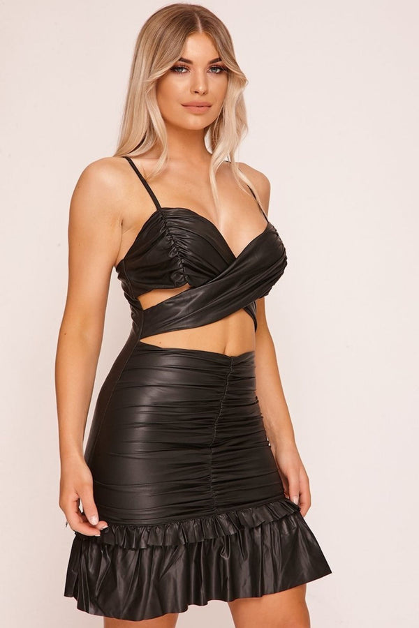 HIGH STREET Black Wrap Front Cut Out Mini Dress side
