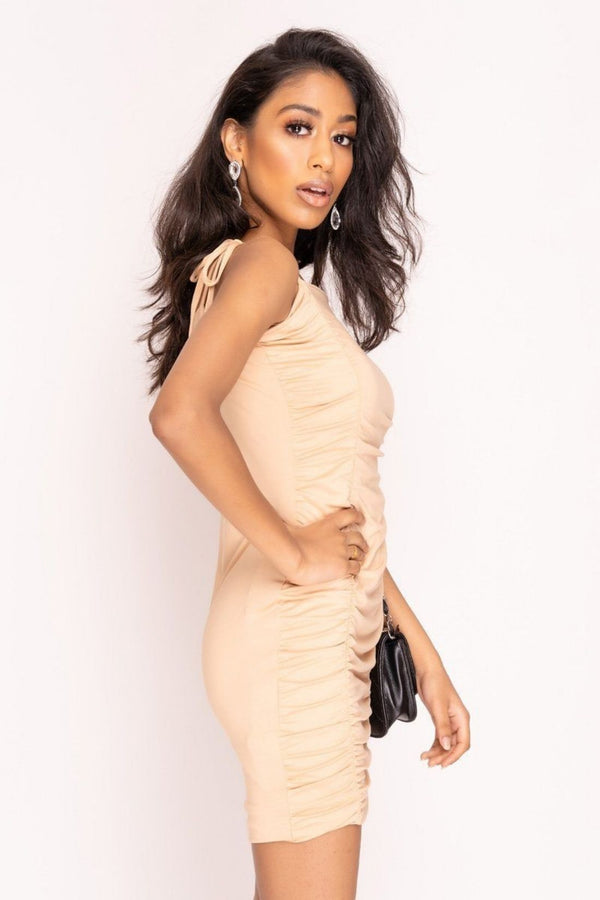 HIGH STREET Nude Extreme Ruched Mini Dress side.