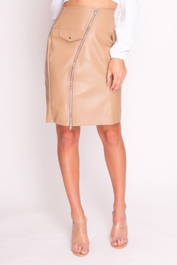 HIGH STREET Nude Faux Leather Zip Front Midi Skirt front.
