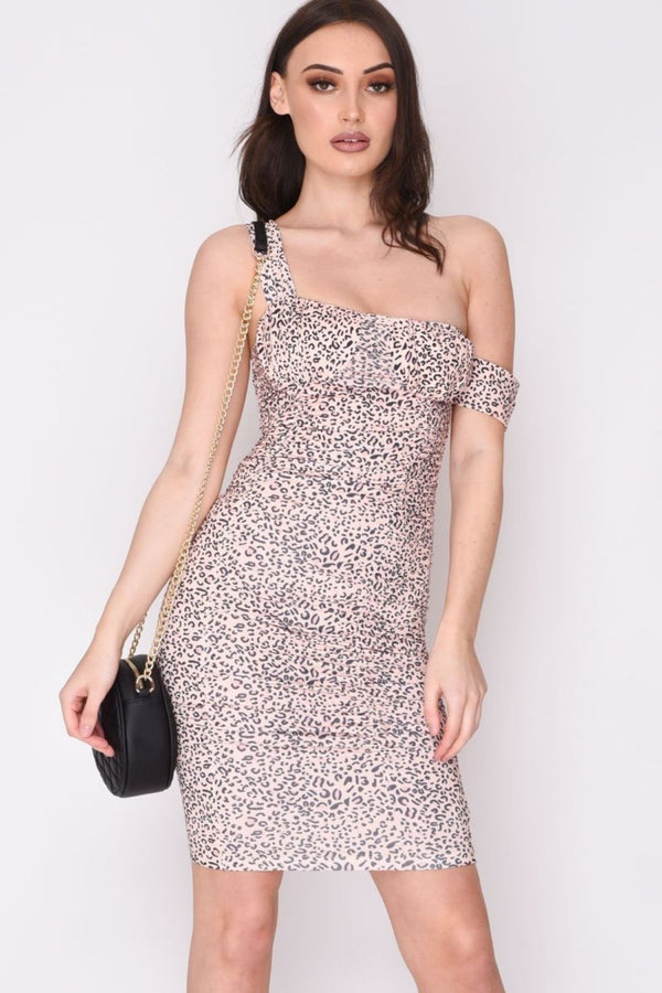 HIGH STREET Nude Leopard Print Bodycon Dress front.