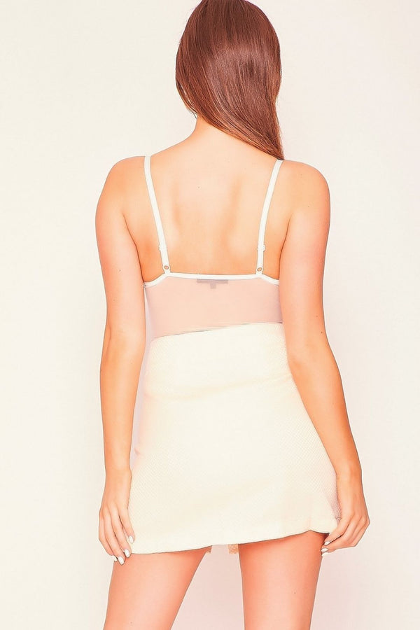 HIGH STREET Nude Textured Zip Front Mini Skirt back.