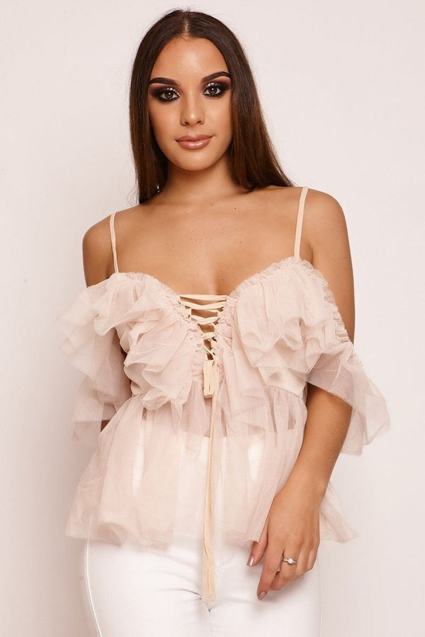 HIGH STREET Nude Tulle Lace Up Top front.