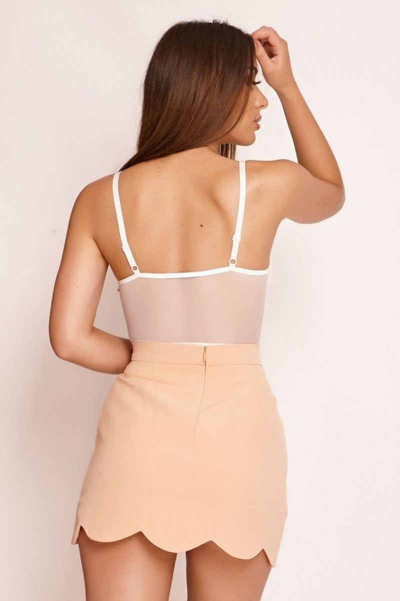 HIGH STREET Peach Scallop Hem Mini Skirt back.