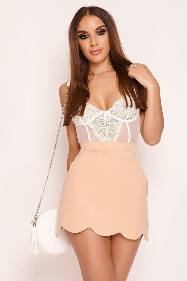 HIGH STREET Peach Scallop Hem Mini Skirt front.