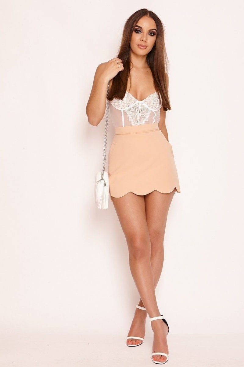 HIGH STREET Peach Scallop Hem Mini Skirt full view
