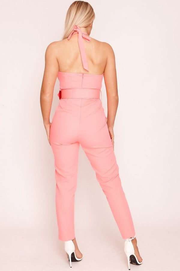 HIGH STREET Pink Belted Jumpsuit back.