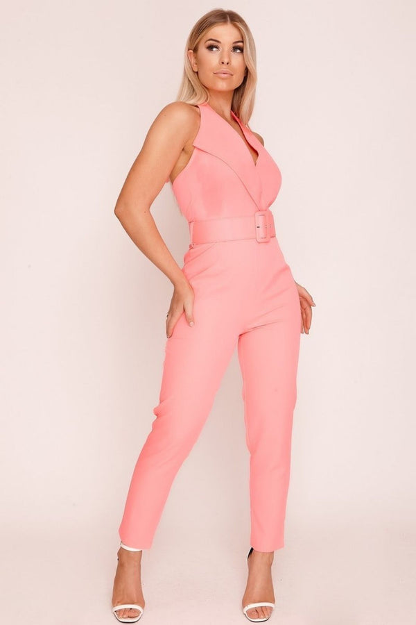 HIGH STREET Pink Belted Jumpsuit front.