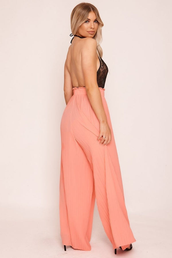 HIGH STREET Pink Pleated Palazzo Trousers back.