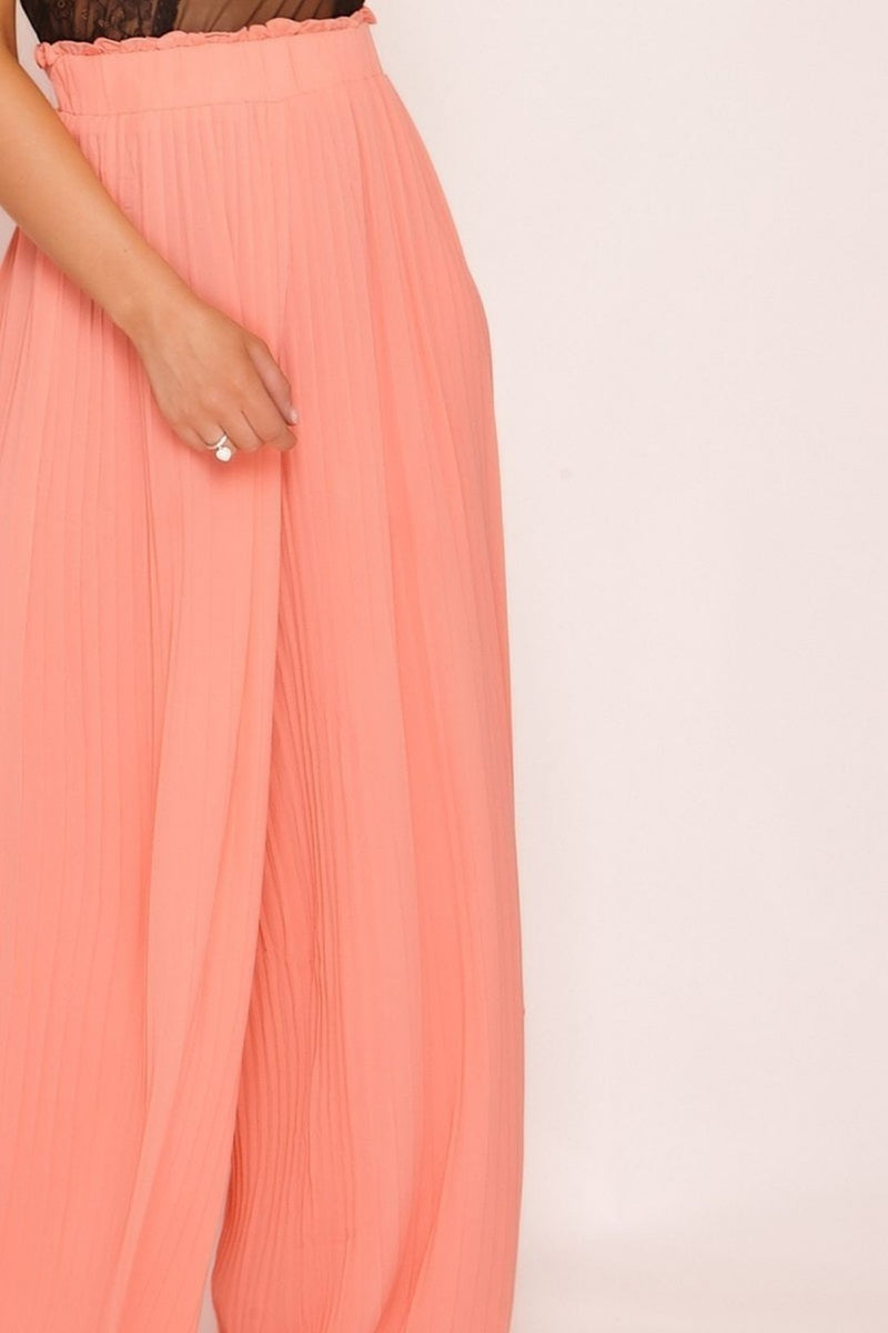 HIGH STREET Pink Pleated Palazzo Trousers