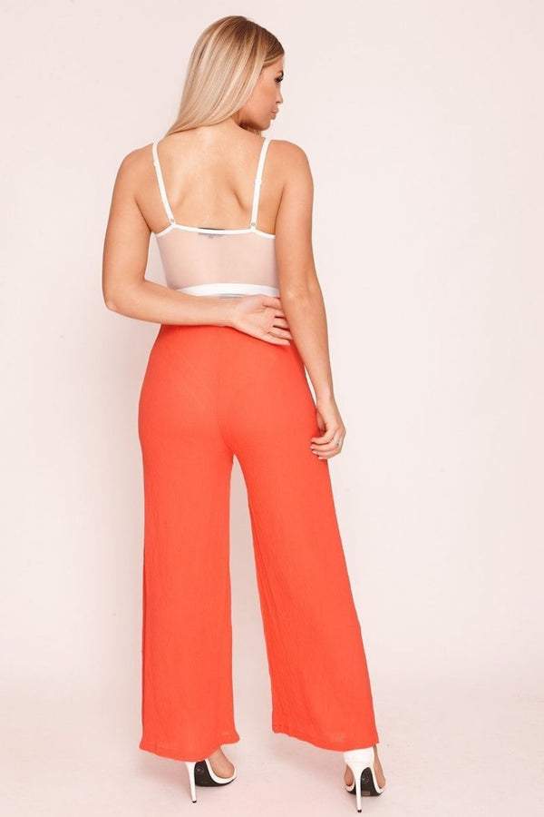 HIGH STREET Red Wide Leg Crepe Trousers back.