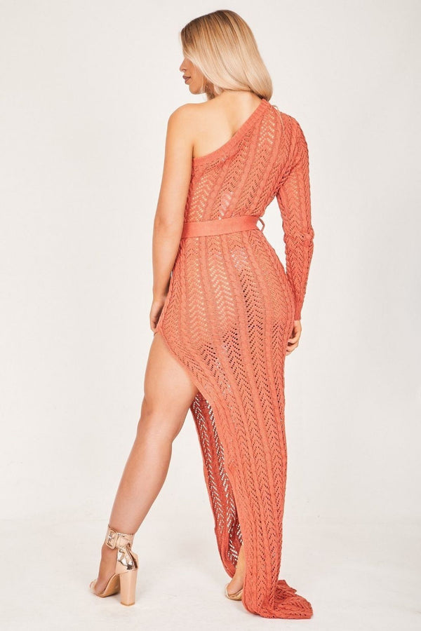 HIGH STREET Rust Asymmetric Knit Maxi Dress back.