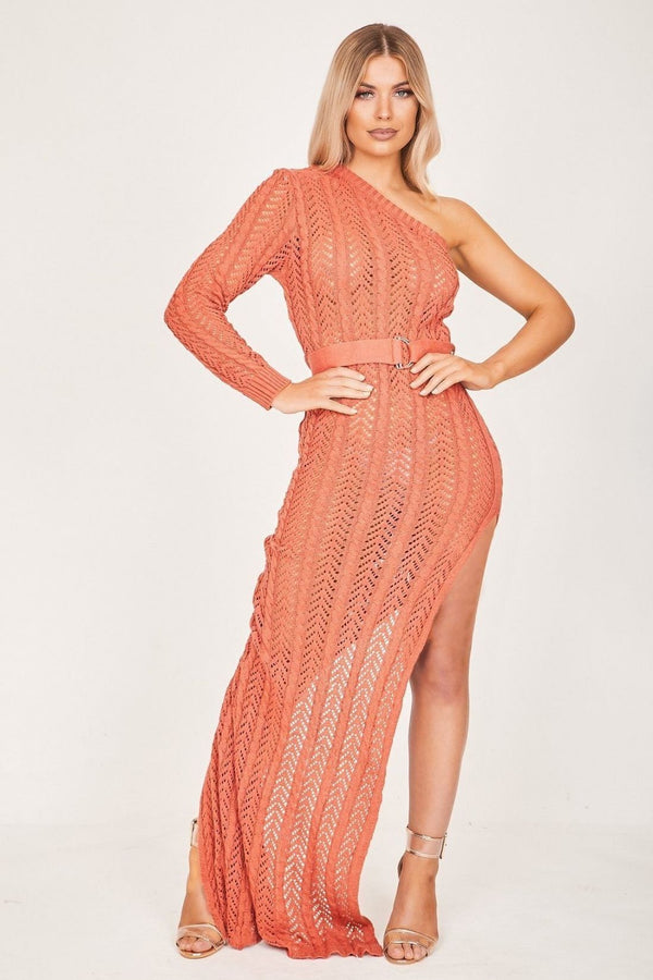 HIGH STREET Rust Asymmetric Knit Maxi Dress front.