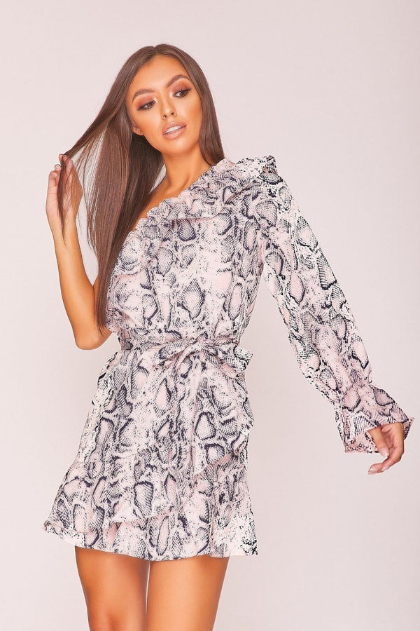 HIGH STREET Pink Snake Print Asymmetric Mini Dress front