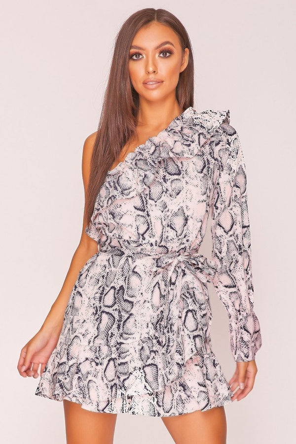 HIGH STREET Pink Snake Print Asymmetric Mini Dress front.