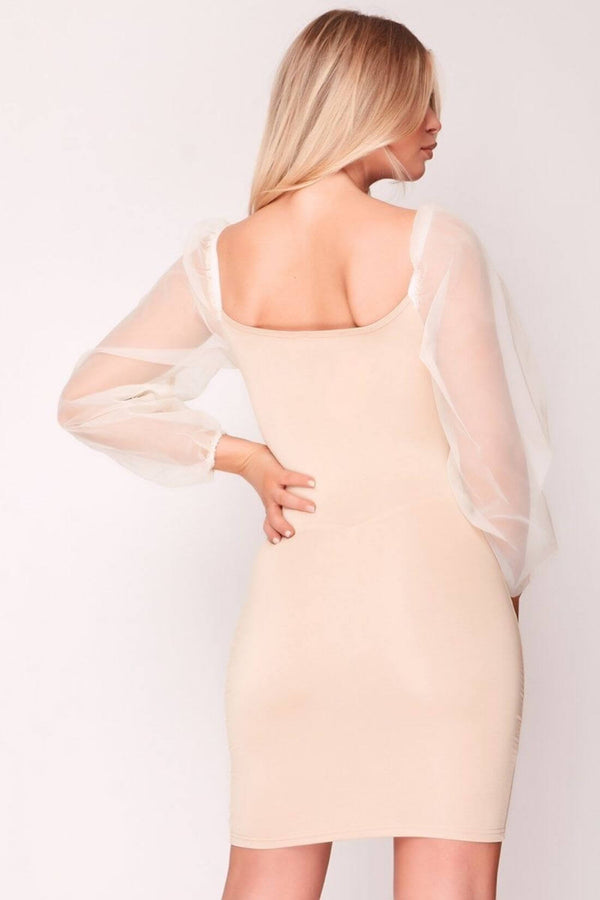 HIGH STREET Beige Mesh Sleeve Tie Front Bodycon Dress back.