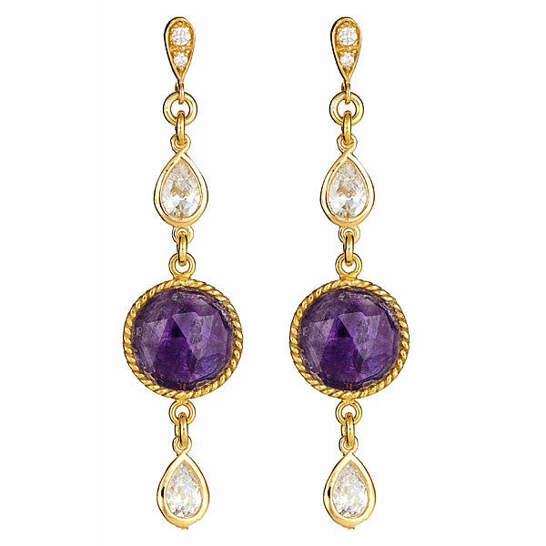 Amethyst Bezel round and Pear Shape CZ Earrings