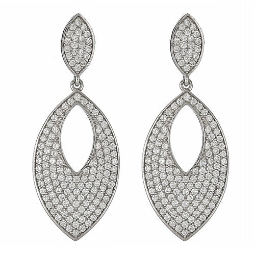 CZ Pave Sterling Silver Earrings