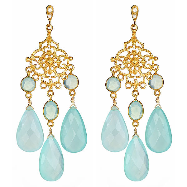 Chalcedony Vermeil Chandelier Earrings