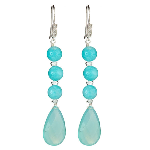 Long Dangling Chalcedony and Amazonite Pear Shape Earrings