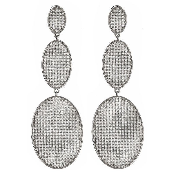 Sterling Silver CZ Pave Statement Earrings