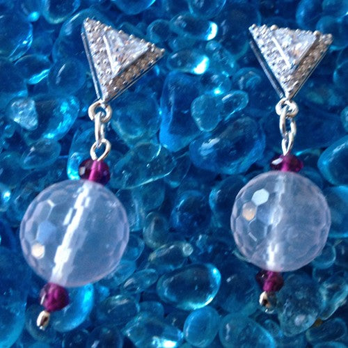 CZ Triangle Earrings with Rose Quartz Round Drop