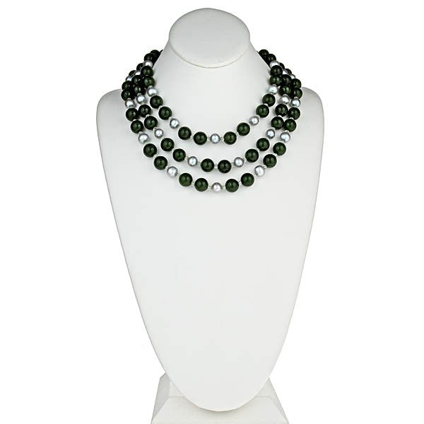 Three row Green Jade, Silver Grey Pearl Necklace