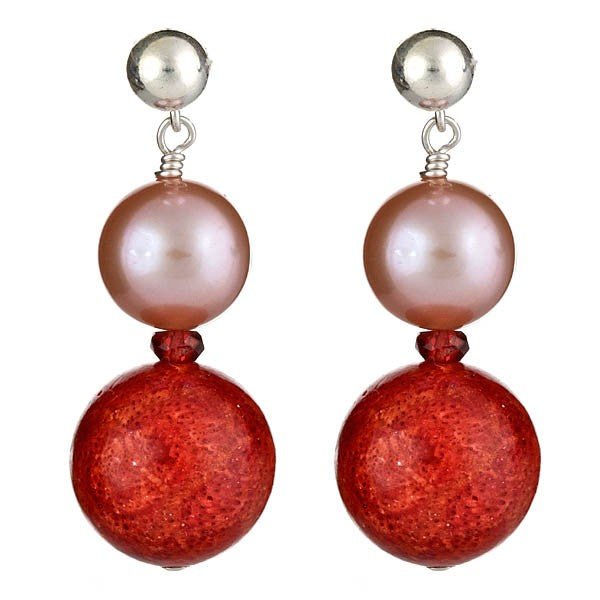 Red Sponge Coral & Pink Pearl Earrings