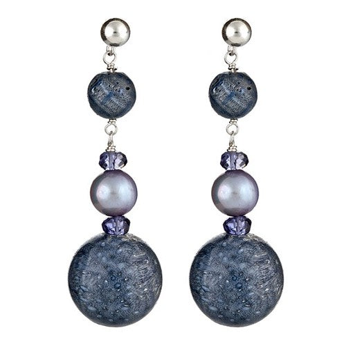 Blue Sponge Coral, Silver Blue Pearl & round Blue Sponge Coral Earrings