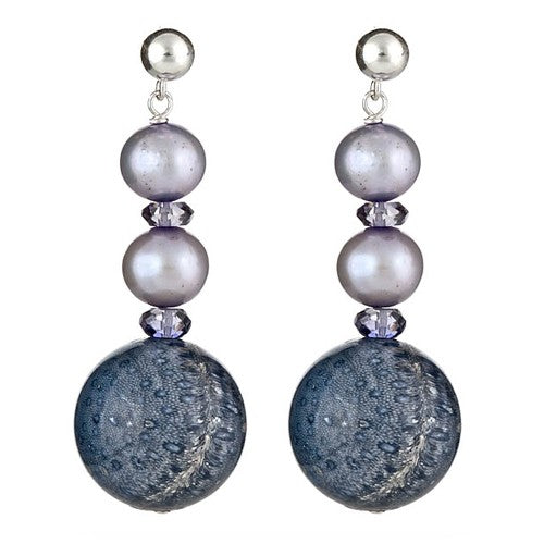 Blue Sponge Coral with Double Silver Blue Pearls Earrings