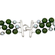 Load image into Gallery viewer, Three row Green Jade, Silver Grey Pearl Necklace