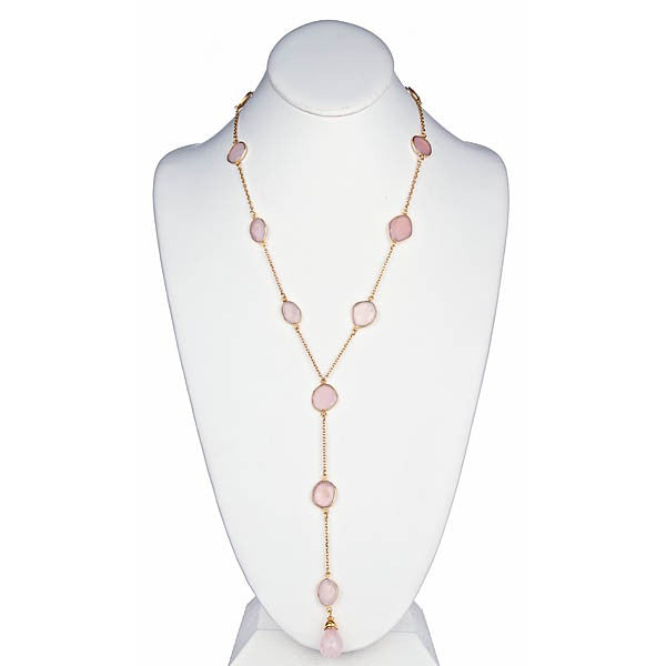 Rose Quartz Chain Necklace with Briolle Drop