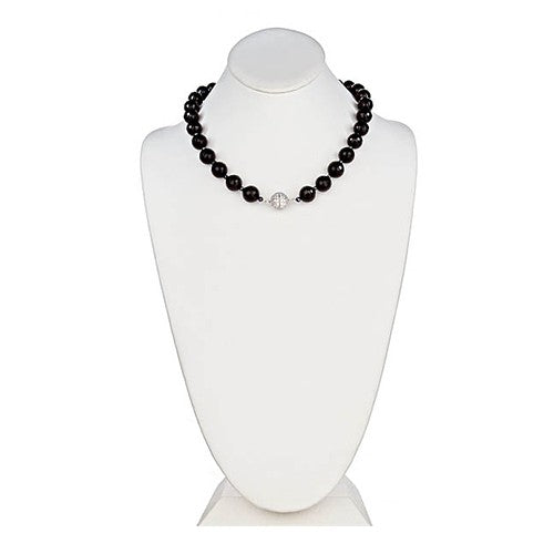 Onyx faceted necklace with CZ Pave Sterling Silver Clasp