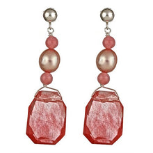 Load image into Gallery viewer, Cherry Quartz & Pink Pearl Earrings