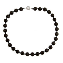 Load image into Gallery viewer, Onyx faceted necklace with CZ Pave Sterling Silver Clasp