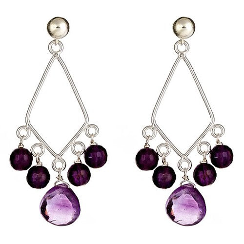 Amethyst Briolle and round Chandelier Earrings