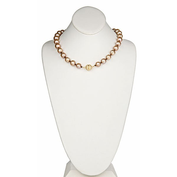Champagne Pearl Necklace with Gold CZ Pave Clasp
