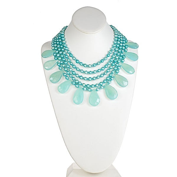 Five Row Seafoam Pearl & Chalcedony Drop Necklace