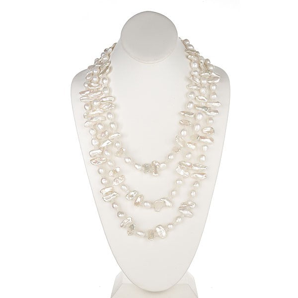 White Barouque & Biwa Long Pearl Necklace