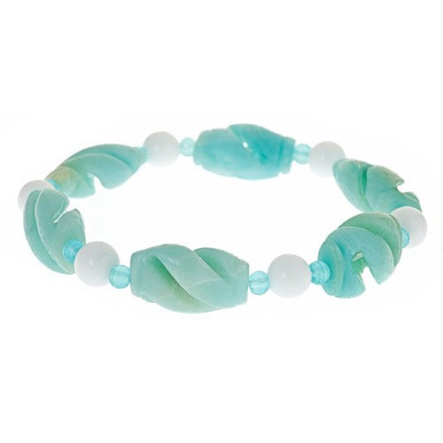 Carved Amazonite and White Agate rounds Stretch Bracelet