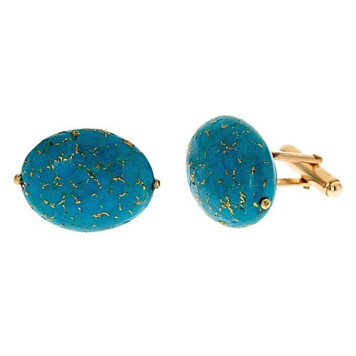 Turquoise Oval Shaped Cuff Links