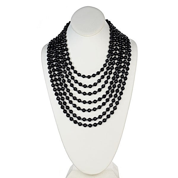 Seven Row Onyx Statement Necklace