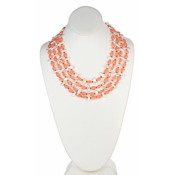 Peach Jade & White Biwa Pearl Necklace