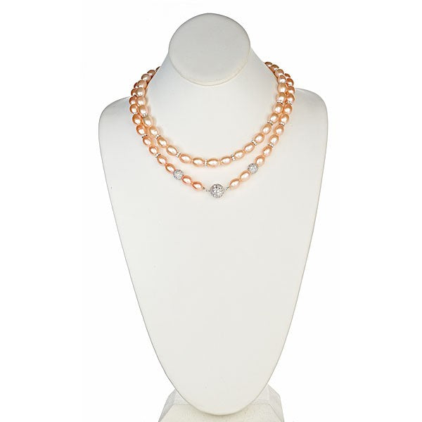 Peach Pearl and Sterling Silver CZ Roundels with CZ Pave Sterling Silver Clasp Necklace