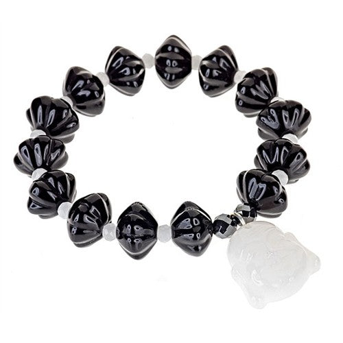 Black Agate Stretch Bracelet with White Agate Buddah