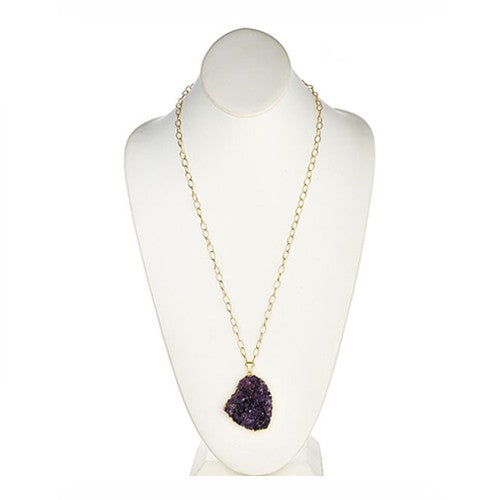 Amethyst Druzy Pendant Necklace on Vermeil Chain Necklace