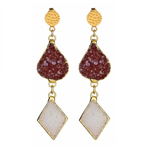 Double Druzy Drop Earrings with Hammered Round Gold Posts